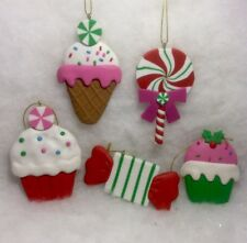 Cupcake, Ice Cream, Peppermint, Lollipop Christmas Tree Ornaments Sweet Treats