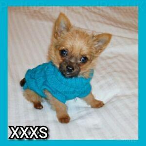 XXXS Tiny Puppy Chihuahua OCEAN BLUE Knit Coat Pet Clothes Dog XXXS EXTRA Tiny