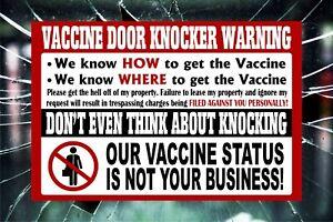 No Soliciting Sign NO VACCINE SOLICITING Anti Biden Vaccination Door Sticker