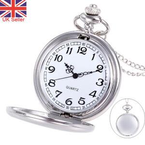Vintage Pocket Watch Quartz Pendant & Chain Classic Silver Fob Watches Men Women