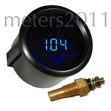 "2"" Digital Water Temperature Meter, Blue LED Display, Smoke Lens - BLACK, ROUND"