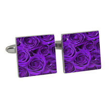 Purple Roses Cufflinks in Gift Box valentine passionate love BNIB NEW