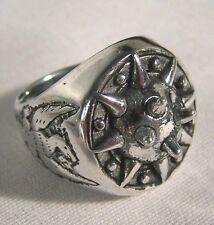 SPIKE EAGLE BIKER RING BR238 HEAVY silver eagles NEW novelty fashion jewelry men