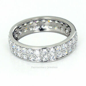 6MM Silver Eternity Ring Clear Cubic Zirconia Sterling Dbl Row CZ Anniversary
