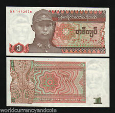 MYANMAR 1 KYAT P67 1990 BUNDLE CARVING UNC CURRENCY MONEY LOT 100 BURMA BANKNOTE