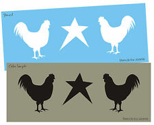 "STENCIL 5"" Rooster Chicken Star Primitive Country Kitchen Signs Wall Art Border"