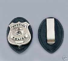Leather Clip On Badge Holder for Security, Law Enforcement