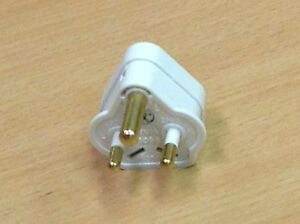5 Amp White Plug Top X 5 Round 3 Pin Plug