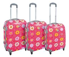Flower Pink Polka Dot Hard Case 3PC Rolling Travel Spinner Luggage Suitcase Set