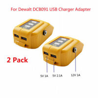 2x USB Mobile Charger Adapter with DC 12V Port for Dewalt DCB091 Slid Battery