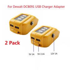 2x USB Mobile Charger Adapter with DC 12V Port for Dewalt DCB091 Slid Battery