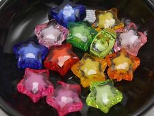 """50 Mixed Color Acrylic Faceted Star Charm Beads 16mm """"Bead in Bead"""""""