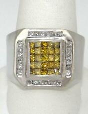 Mens 14K White Gold Square Cut Yellow 1 1/2ct Diamond Wide Band Ring 10 16mm