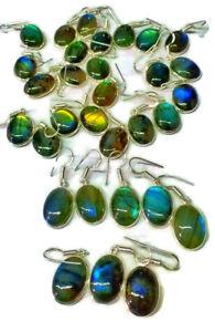 New Pair Lot Multi Fire Labradorite Gemstone 925 Sterling Silver Plated Earrings