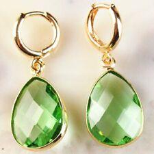 Teardrop Pendant Bead Earrings Eh154 2Pair Wrapped Faceted Green Crystal