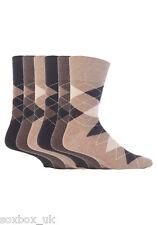 6 Pairs Mens Gentle Grip Socks Size 6-11 Uk, 39-45 Eur MGG41 Neutral Argyle