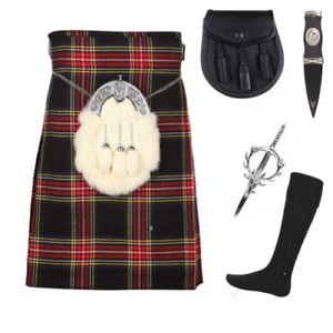 Escocia Kilt Co 5 Negro Stewart 5 Pieza Kilt Paquete Incluye Sporran & Manguera