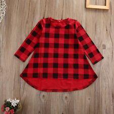 Cute Toddler Kids Girls Dress Spring Long Sleeve Red Plaid Children Dresses