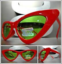 Vintage Clásico Diseño Retro Ojos de Gato Estilo Gafas de Sol Montura Roja Verde
