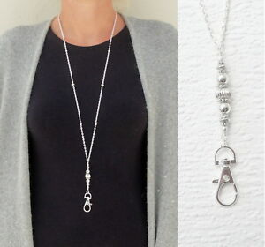 Silver Necklace Lanyard ID Badge Holder, ID Card Necklace Silver Fashion Lanyard