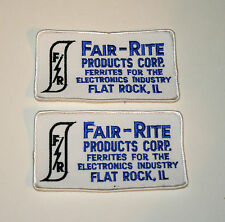 2 Vintage Fair-Rite Products Ferrites Illinois Employee Patch New NOS 1970s