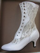 nwb COAST Shoes calf leather/lace up BOOT Wedding Victorian Granny Steampunk 7
