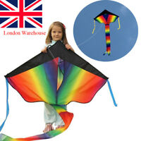 Huge 100M String Rainbow Flying Kite Kids Children Outdoor Game Fun Child Toy UK