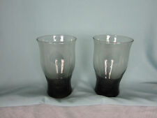 Pair of Beverage Glasses Hand Blown Smoke Gray Weighted bottoms Almost 6 in tall