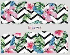 Nail Art Calcomanías Traslados Pegatinas Selva flores de color rosa (BN952)