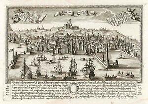 Stampa antica originale Neapolis - Neapolis Napoli Campania Italy