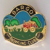 Bargo Bowling Club Badge Pin Vintage Lawn Bowls Horse & Carriage (L23)
