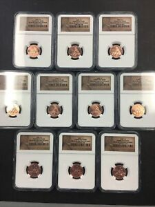 (10) NGC 2009 MS 66 Formative Years Penny lot NO RESERVE! SHINY!