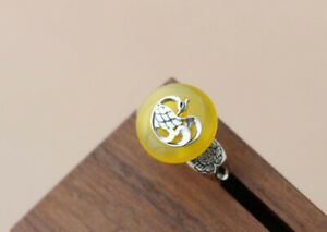D10 Ring Peacock on Yellow Chalcedony 925 Sterling Silver Adjustable Size