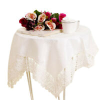 Satin Cutwork Round Tablecloth White Lace Table Cloth Wedding Dining Party Decor