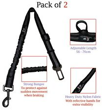 2 Bungee Dog Seat Belts for Car Heavy Duty Safety Leads Harness Elastic Buffer