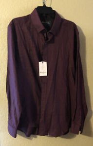 "NWT Robert Graham Men's ""Colin"" Tailored Fit Woven Shirt 2XL Bordeaux"