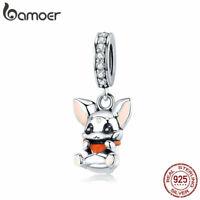 BAMOER S925 Sterling silver dangle charm Enamel Bunny With Clear CZ Fit Bracelet