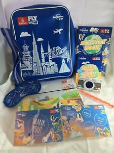 EMIRATES Fly With Me Lonely Planet Kids Airline Retro BLUE Bag Crossbody Satchel