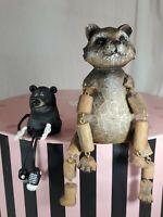 Shelf Sitters Sitting Dangle legs raccoon and bear lot of 2 cabin decor  (cf)
