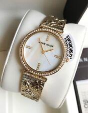 Anne Klein Watch * 3146MPGB MOP Swarovski Floral Gold Steel Bangle for Women