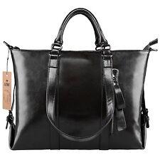 S-ZONE 3-Way Women's Genuine Leather Shoulder Tote Bag Handbag Black
