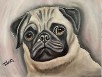 Original oil painting artwork sweet pug dog 11 x 14 signed canvas