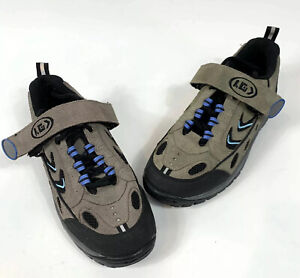 LOUIS GARNEAU Cycling Shoes Womens Sz 7.5 Taupe Suede Lace Up Hook/Loop No Clip