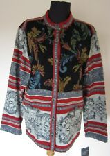 Sag Harbor Ladies Size 12 Multi-color Tapestry Jacket with Design Gray Black Red