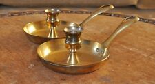 Pair of Vintage Brass Pan/Chamberstick Candle Holders- fretwork Heart on handles