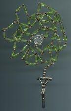 Più anziani Rosario PERIDOT-VERDE-illuminante perline di vetro CATENA + Ciondolo a Croce Ferro