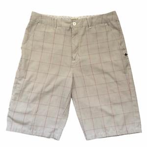"Vintage Hurley Art Dept. Men's Plaid Chino Shorts 33"" Waist Gray 11"" Inseam"