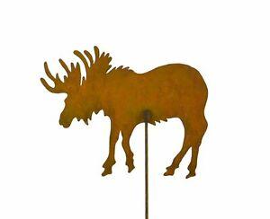 Moose Wildlife Rust Metal Garden Decor Yard Art Stake Gift for Gardeners