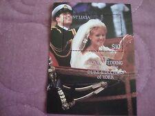 Royal Wedding 1986 Prince Andrew & Sarah, Saint Lucia unissued Souvenir Sheet