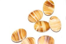 #C15  CLEARANCE   25x18MM GLASS OVAL BROWN CREAMY BEIGE STRIPED CABOCHONS 46PC